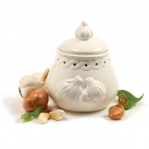 Italian Garlic Keeper Ceramic, White Pottery Garlic Keeper Terra Cotta