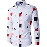 WM & MW Male Novelty Shirt, Fashion Mens Slim Fit Shirt Long Sleeve Casual Tetris Print Button Lapel Shirts Tops (XL=(US:L), White)