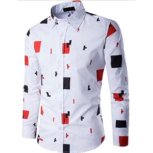 WM & MW Male Novelty Shirt, Fashion Mens Slim Fit Shirt Long Sleeve Casual Tetris Print Button Lapel Shirts Tops (XL=(US:L), White) by WM & MW