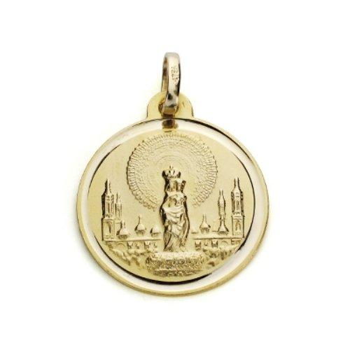 Médaille ronde Virgen del Pilar 18kt gold