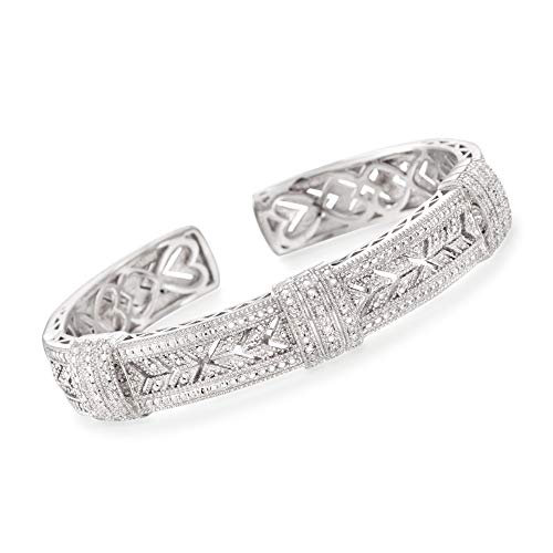 Ross-Simons 0.25 ct. t.w. Diamond Vintage-Style Cuff Bracelet in Sterling Silver ()