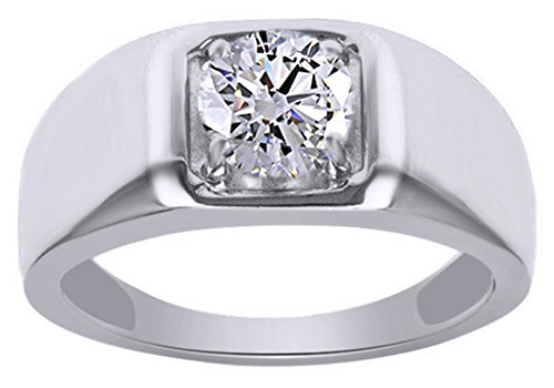 Jewel Zone US Moissanite 1.28 Carat Diamond Equivalent Weight Round Brilliant Cut 14k White Gold Over Sterling Silver Ring Men ()