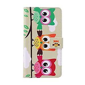LHY Three Multicolor Owls Pattern PU Leather Cover with Stand and Full Body Caset for Samsung Galaxy Note 4