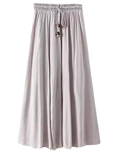 YuanDian Mujer Verano Retro Literatura Y Arte Estilo Cintura Elástica Falda Larga Color Sólido Ocio Cordón Fiesta Oscilación Faldas Maxi Gris