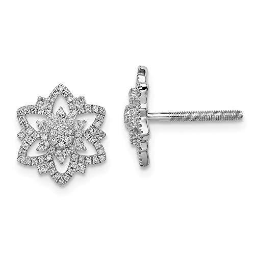 - 925 Sterling Silver Diamond Flower Screwback Post Stud Earrings Gardening Fine Jewelry Gifts For Women For Her