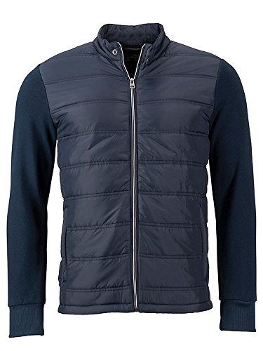 Trendy Men's Attraente Di Felpa Sweat Jacket Hybrid In giacca Materiali Mix Navy qpfUqaw