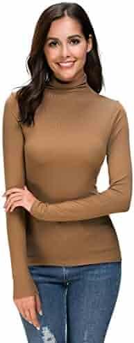Womens Long Sleeve/Half Sleeve/Sleeveless Mock Turtleneck Crew Stretch Slim T Shirt Layer Top
