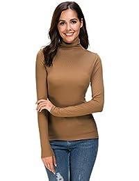 Womens Long Sleeve/Sleeveless Slim Fit Mock Turtleneck Stretch Comfy Basic T Shirt Layer Top