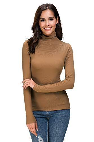 Womens Long Sleeve/Half Sleeve/Sleeveless Mock Turtleneck Crew Stretch Slim T Shirt Layer - Sweater Pullover Rose