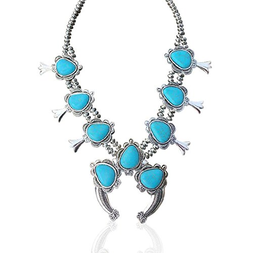 Squash Blossom Necklace Silver Tone Navajo W/ Earrings Large Set (Blue, alloy) - Navajo Turquoise Necklace