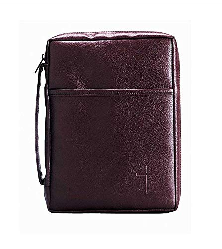 Burgundy Embossed Cross with Front Pocket Leather Look Bible Cover with Handle, Small