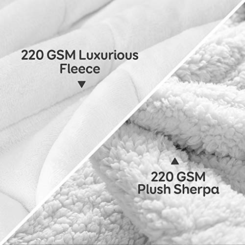 Weighted Blanket 15 lbs 60x80 inches, Cottonblue Queen Size Flannel and Shaggy Sherpa Warm Heavy Blanket, Great for Calming and Relax, Fluffy Soft Bedding Blanket, Snow White