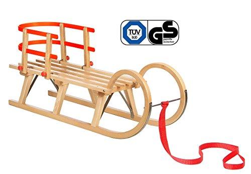 Impag® Hörnerschlitten mit Zuggurt und Lehne Rot 100 cm