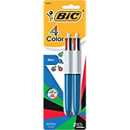 BIC 4-Color Mini Ball Pen, Medium Point (1.0mm), Assorted Ink, 2-Count