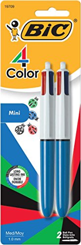 BIC 4-Color Mini Ballpoint Pen, Medium Point (1.0mm), Assorted Inks, (Ballpoint Mini Pen)