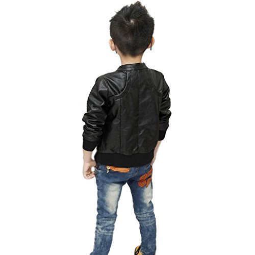Chinaface Boy's Trendy Stand-Collar PU Leather Spring Moto Jacket Black-Large (Tag140, 9/10T) -