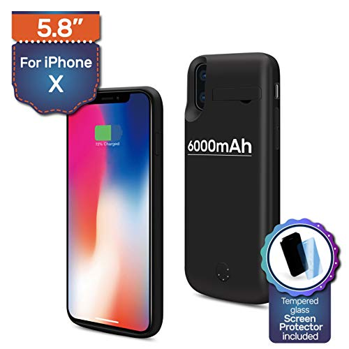 Never Run Out iPhone X Backup Battery Charger Protective Case, 6000mAh, 180% Extra, Fast-Charging Power Bank