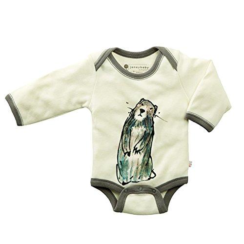 Babysoy Newborn Organic Long Sleeve Animal Print Bodysuit Onesie Romper (12-18...