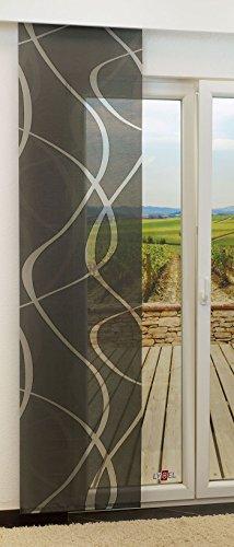 Schiebegardine von LYSEL® - Coloma transparent mit Linien in den Maßen 245 cm x 60 cm schwarz/anthrazit