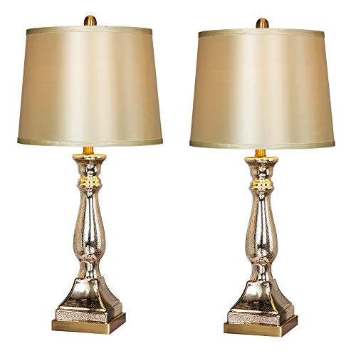 Martin Tools W-5160-2PK Table Lamp, Mercury Glass/Antique - Lamp Table Antique Brass Candlestick