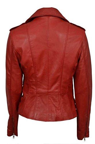 Elegante retro rojo del cuero de Nappa corto Chaqueta de motorista de la mujer