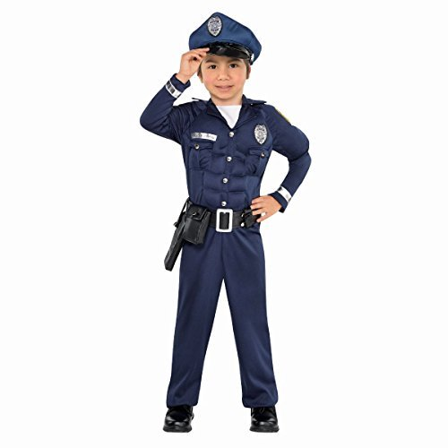 Amscan Boys Cop Muscle Costume - Toddler (3-4), Multicolor ()