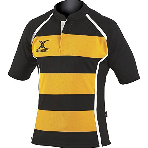 Gilbert Xact Hoops Rugby Jersey (Black/Amber, X-Large)