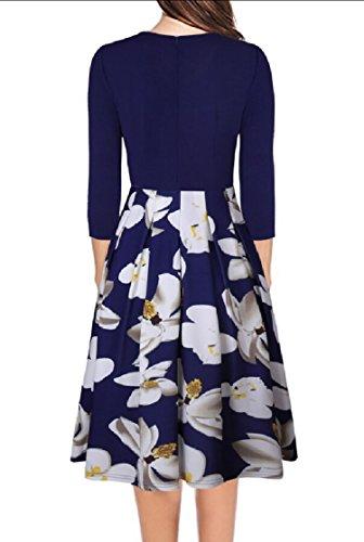 Jaycargogo Patchwork Swing Travail Plissé Millésime Manches 3/4 Bleu Robe De Soirée Des Femmes