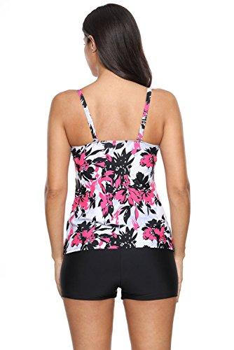 New rose rosso floreale stampato Strappy Swimdress 2PCS Tankini set bikini Swimwear estivo costume da bagno misure UK 8EU 36