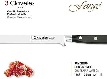 """3 Claveles - Cuchillo Profesional Jamonero de 30 cm 12"""" Gama Forgé, Acero Inoxidable Molibdeno Vanadio de Alta Calidad. Dureza 54 Hrc, con Funda Especial Protectora"""