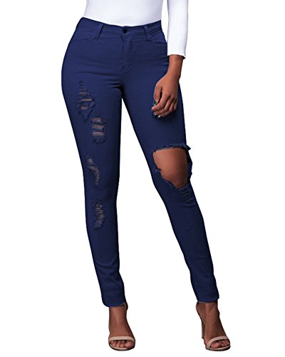 Scuro Pantaloni Blu Donna Denim Skinny Casuale Jeans Distressed TqwC47xw