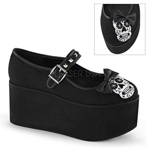 Click-02-3 Mary Jane schoen met plateau en schedel van vilt met satijnen strik zwart suede - Gothic Glamrock