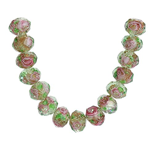20Pcs Handmade Faceted Glass Rondelle Charms Rose Flower Inside Lampwork Loose Beads Lot Color (8mm, Clear/Green)
