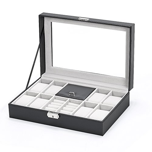 NEX Men Women 8 Slots Display Jewelry Storage Colleciton Box with Lock and 3 Mixed Grids for Watche, Ring, Bracelet, Necklace, Brooches (Lady Ring Jewelry)