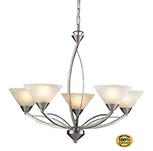 Five Light Elysburg (ArtMuseKits 7637/5 5-Light Chandelier in Satin Nickel and Marbleized White Glass)