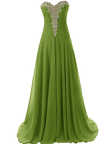 Chiffon Olive Strapless Pleat Dress Dresses Evening Sweetheart Long Prom JAEDEN Gowns Prom YxPqnBCwO