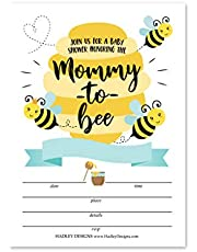 25 Mommy to Bee Baby Shower Invitations, Sprinkle Invite for Boy or Girl, Coed Garden Gender Reveal Neutral Theme, Cute Fill or Write in Blank Printable Card, Bumble Bee Themed Party DIY Supplies
