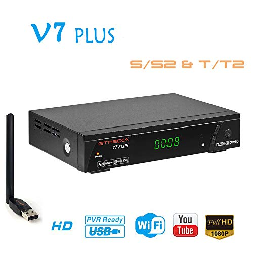 GTMEDIA V7 PLUS DVB-S2/T2 FTA Satellite TV Receiver Digital Sat Decoder 1080P Full HD with USB WiFi Antenna H.265 AVS+ Support Youtube, PVR Ready, Cccam, Newcam, Powervu, DRE & Biss key