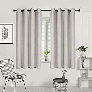 SUO AI TEXTILE Blockout Window Curtains Xmas Bedroom Door Curtain 2pc 3 Layer Blockout Eyelet Curtain Linen Textured Eyelet Block Out Curtains in Beige 140CM x 160CM