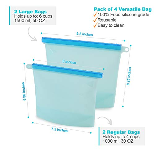 [REDESIGNED] 4 PACK Reusable & Resealable Airtight Silicone Food Snack Bags, Keeps Food Fresher for Longer, 2-Medium 35oz and 2-Large 50oz Bags, Eco Friendly, Leakproof, Waterproof,