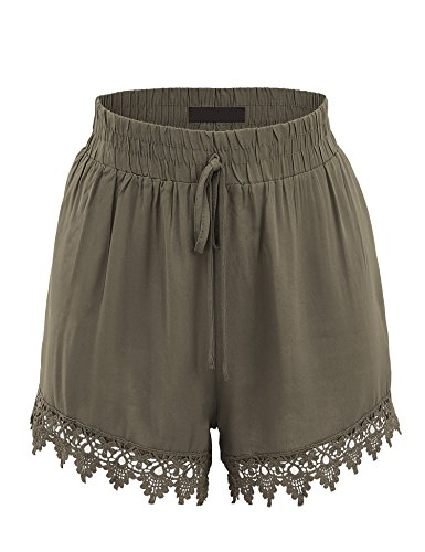 Short Contrast Trim (Made By Johnny WB1764 Womens Woven Elastic Waistband Shorts with Crochet Trim L Military_Green)