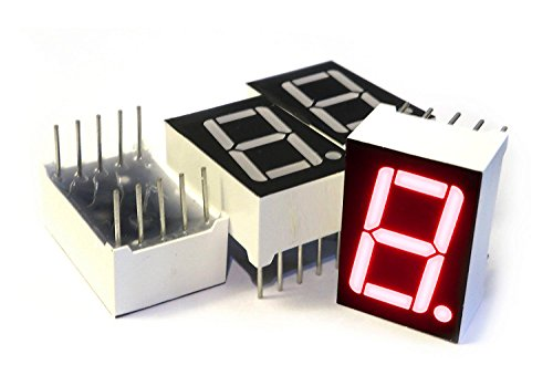 7 Segment LED Display (4pcs) - Common Anode Digital Display Tube - 0.5-in x 0.75-in (1/2 inch x 0.75 inch) - Red Single Digit/Number/Letter 10-pin Through Hole Often Used as Arduino Output Indicator