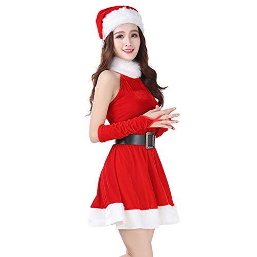 Fullfun Mini Halter Red Christmas Dress Hat Set Female Ladies Mrs Sexy Strapless Dress Costumes ()