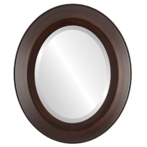 Oval Beveled Wall Mirror for Home Decor – Lombardia Style – Mocha – 26×36 outside dimensions