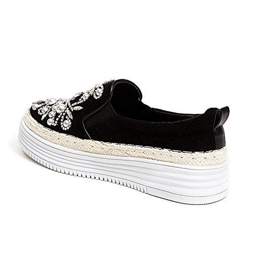 Sneaker Platform In Pelle Di Madreperla Francese Blu Nera