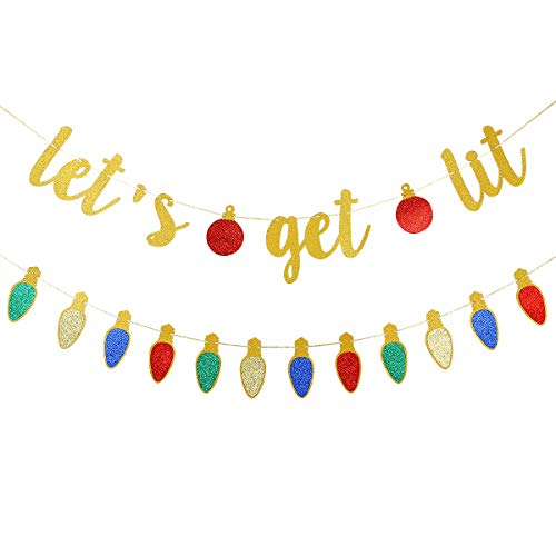 Gold Glittery Let's Get Lit Banner and Glittery Christmas Theme Garland Decor- Christmas Holiday Party Decorations,New Year Eve Party Decor,Home Decor,Mantel Home
