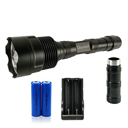 Diyueol 3800 Lumens Tactical LED Flashlight 3 CREE XM-L T6 LED 5-Mode Memory 18650 Torch,Work with Two or Three Batteries,Two 3200mAh Batteries Included