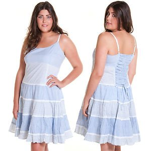 731a2f85b6b Joe Browns Boho Cotton Blue   White Stripe Tiered Festival Dress In Plus  Sizes (UK