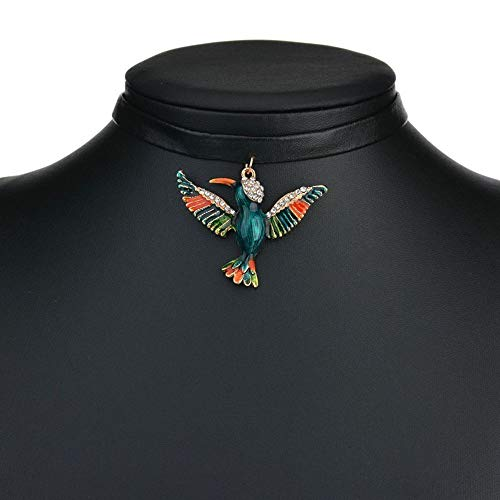Leather Cute Crystal Enamel Birds Parrot Pendant Choker Collar Necklace