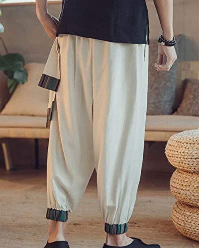 Uomo Da Pants Beige Lino Aladdin Bobo Chino Ampi Pantaloni Stile 88 In E A Unita Vintage Casual Tinta D'epoca Zampa wFtIfCq